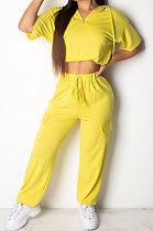 Casual Sets Fashion Jacket Short Sleeves Drawstring High Waist Long Pants Two-Piece TL6370