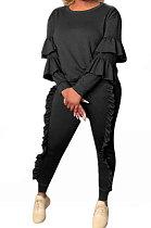 Fashion Pure Color Agaric Edge Long Sleeve Sport Sets TL6181