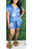 Casual Polyester Tie Dye Short Sleeve V Neck Shorts Capris Pants Sets MOM1395