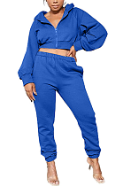 Casual Polyester Long Sleeve Slant Pocket Hoodie Utility Blouse Long Pants Sets MOM1402
