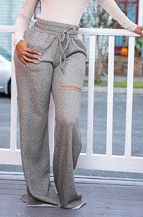 Pantalon de sport décontracté ouvert Fofk à jambes larges et taille moyenne TL6506