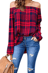 Red Black Plaid Shirts Long Sleeve Loose Single-Breasted Shirts D68055
