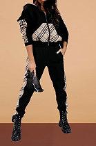 Женская одежда в клетку в клетку, повседневная спортивная с длинным рукавом, на молнии, с капюшоном, из двух частей, ABL6648