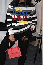 Осенне-зимняя женская одежда в полоску с принтом Модные повседневные двухкомпонентные AMM8321