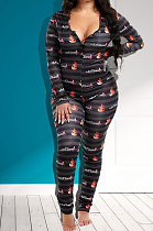 Round Neck Long Sleeve Tight Features Printing Women Jumpsuits KZ222