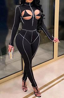 Сексуальная грудь выдалбливают воротник-стойку модные спортивные комбинезоны CY1307
