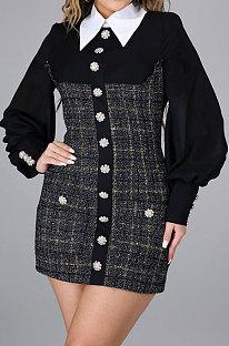 Uniform Wind Suit Collar Long Sleeve Zipper High Waist  A line Dress YF8844