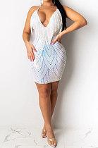 Sexy Sling Sequin Tassel High Waist Dress YF8218