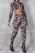 Fashion Camo Long Sleeve Lacing Sexy Two-Piece WSY5813