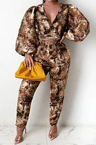Autumn Winter Printing Fashion Casual  Bat Sleeve Two-Piece QY5035