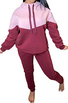 Long Sleeve Pure Color Joker Casual Spliced Hooded Two-Piece YM164