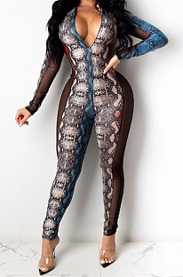 Sexy Serpentine Pattern Printing Net Yarn Spliced Long Sleeve Jumpsuits SDD9345