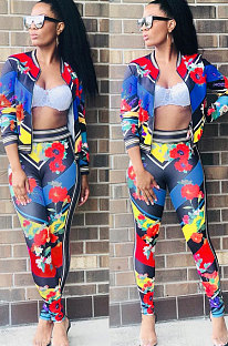 Long Sleeve Zipper Printing Sport Two-Piece AMM8045