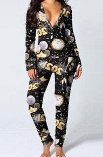 Vêtements pour femmes New Year Pattern Printing At Home Fart Fart Pantalons Combinaisons SDD9474