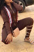 مثير أزياء ملابس نسائية لون نقي طويلة الأكمام زيبر حزام قطعتين EL8024