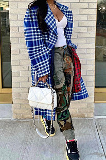 Plaid Printing Long Fashion Long Sleeve Suit Collar Casual Coat WSY5818