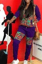 ملابس نسائية مثيرة طباعة طويلة الأكمام زيبر أزياء قطعتين MMG8042