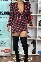 أزياء عارضة مثير منقوشة الطباعة فستان طويل الأكمام WSY5819