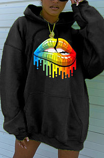 Hoodies Pure Color Positioning Lip Printing Set Head Loose Hooded Fleece ZNN5069