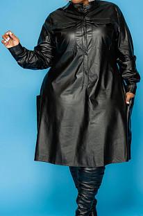 High Collar Pure Color Long Sleese Loose PU Dress KZ215