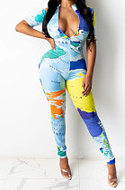 Sexy The Earth Printing Zipper Short Sleeve Jumpsuits SDD9346
