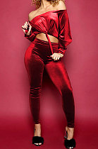 Korean Velvet Pure Color Sexy Long Sleeve Chest Wipe Two-Piece ZNN8038