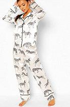 Nightwear Nightwear Long Sleeve Mid Waist Two-Piece Q762
