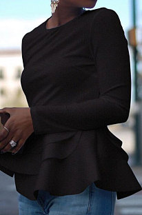 Sexy Double Falbala Hem Long Sleeve Girl T Shirts ZNN8305