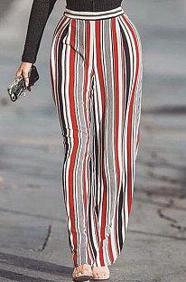 Pantalon décontracté à rayures taille moyenne à jambes larges ZNN8041