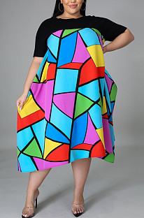 Spring And Summer Fashion Print Dress With Casual Round Collar CCY1413