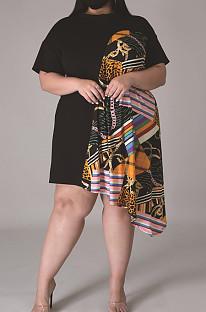 Fashion Digital Print Casual Irregular Skirt + Mask CCY1418