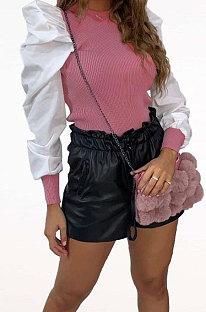 ファッションカジュアルピュアカラーパフスリーブラウンドネックジャケットZNN8341