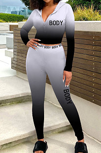 Casual Tight Sport Womenswear Positioning Gradient Manches longues Zipper Two-Piece SYY8010
