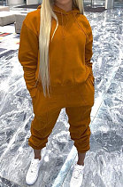 Fashion Womenswear Pure Color Long Sleeve Hooded Fleece Casual Two-Piece SYY8023