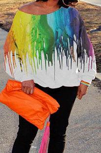 Fashion Womenswear Tie Dye Printing Oblique Shoulder T Shirts SYY8031