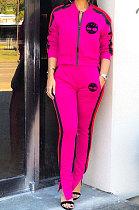 Fashion Womenswear Positioning Printing Long Sleeve Zipper Casual Two-Piece SYY8026