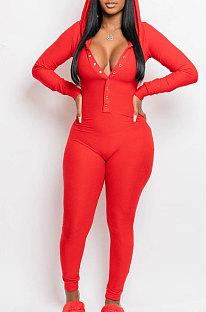 Hooded Button Home Service Pure Color Jumpsuits CCY8069
