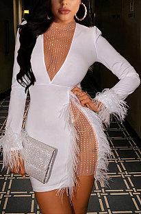 Feather Ney Yarn Hot Drilling Spliced Sexy Mid Waist Dress TZ1168