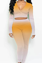 Long Sleeve V Neck Sexy Open Buckle Two-Piece DY6639