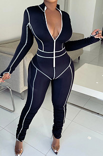 Jogging Sportswear Cultivate One's Morality Embroidered Jumpsuit F8325