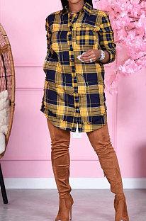 カーディガンレディースウェアファッションチェック柄ラウンドネックカジュアルシャツスカートDY6638