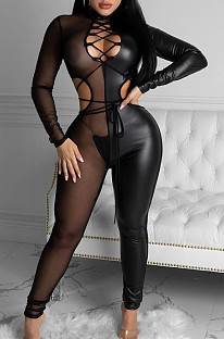 Sexy Patent Leather Splice Perspective Mesh Belt Jumpsuits ZS0376
