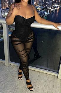 Sexy Bandeau Bra Slip Perspective Mid Waist Jumpsuits KA7167