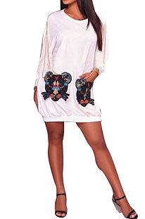 Embroidered Tiger Pocket Long Sleeve Loose Mini Dress F8037