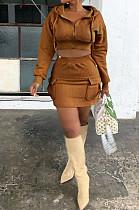 ファッションセクシーな秋冬スカートフード付きジャケットツーピースHM5420