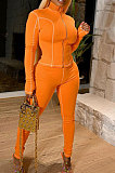 Casual Pure Color Long Sleeve Zipper Two-Piece LD9090