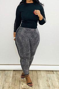 Fashion Two-Piece Sequins Spliced Pure Color Long Sleeve T Shirt Nine Minutes Pants Sets CX191