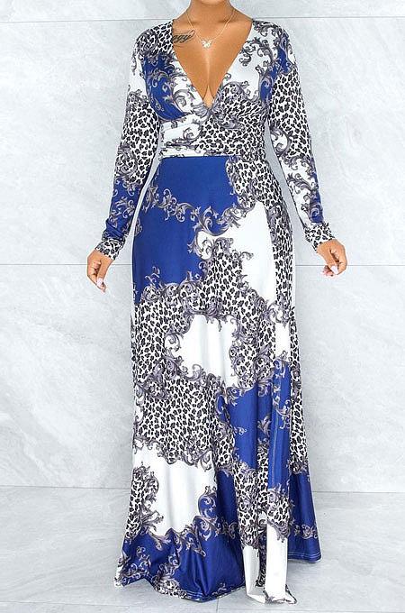 Banquets décontractés à la mode robe formelle à manches longues impression profonde en V robe longue PU6043