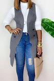 Lapel Neck Deep V Waistcoat Cardigan Sweater Medium Length Coat Jacket K8927