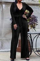 Fashion V-Neck Gold And Silver Silk Ribbon Cloth Jumpsuits SMR9975